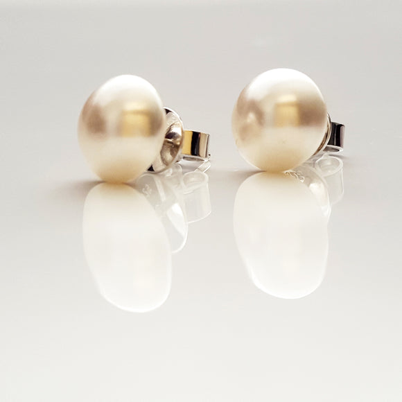 White Shimmer Stud - Bridal Jewellery Collection - Swarovski Pearl Stud  10 mm | (KJ-388E) Handmade Earrings - Kalitheo Jewellery