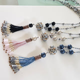 The Enchanted Ball Necklace with Beaded Tassel | KJ-390N Handmade Necklace - Kalitheo Creations