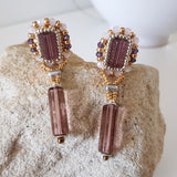 Tianna Drop - Litsa Collection - Beaded Pink Crystal Drop Earrings | (KJ-365E) Handmade Earrings - Kalitheo Creations