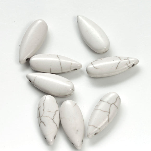 GS-001 White Howlite ( Imit ) Teardrop  10 x 25 mm - Jewellery Making Supply - Kalitheo Creations