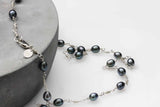 KJ-010 Freshwater Pearl & Silver 925 Wire Wrapped Necklace - Kalitheo Creations