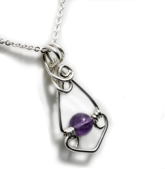 KTC-177 Amethyst Wire wrapped Pendant - Kalitheo Creations