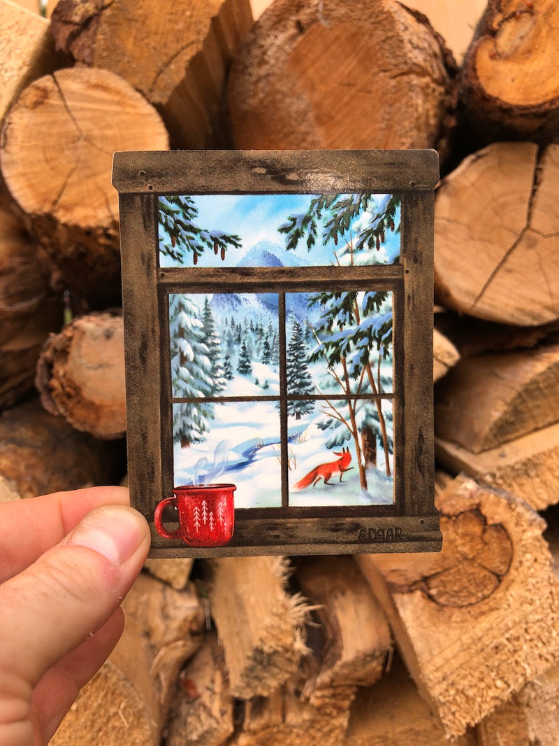 winter cabin decal with fox sticker
