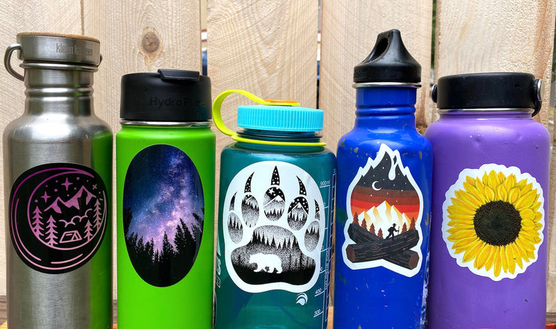 water bottle camping stickers