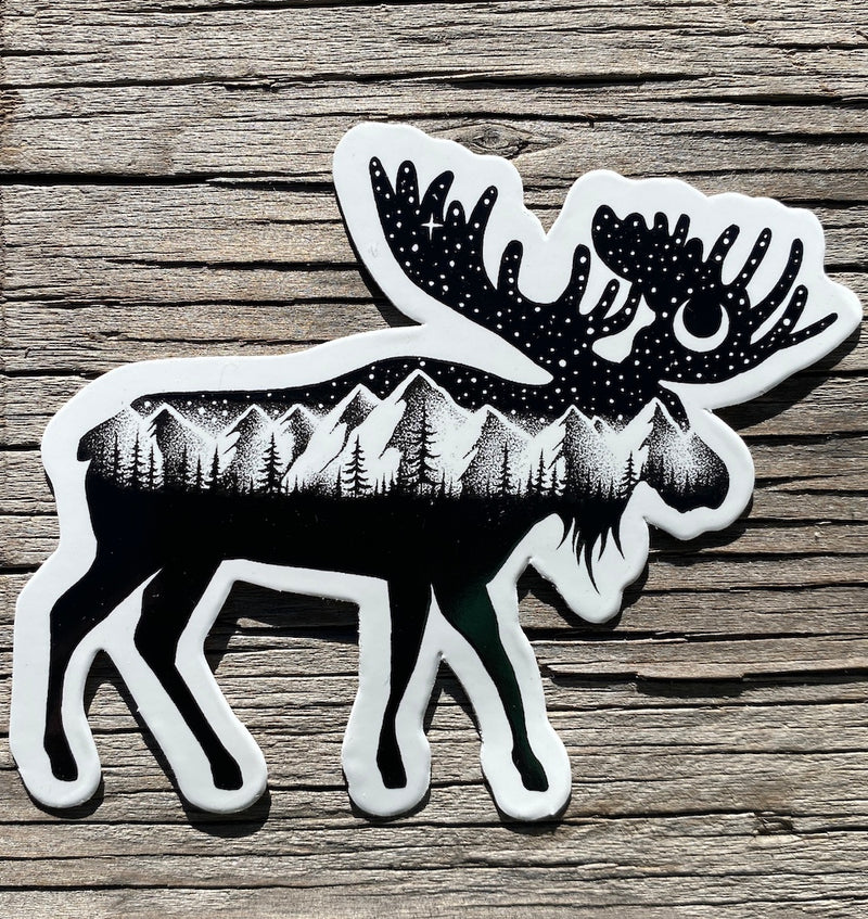 mountains and moose sticker water proof