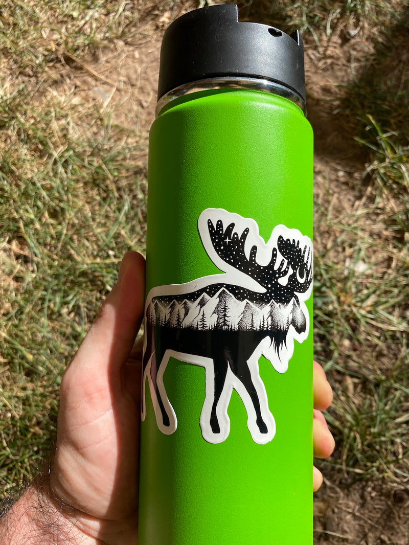 water bottle moose decal