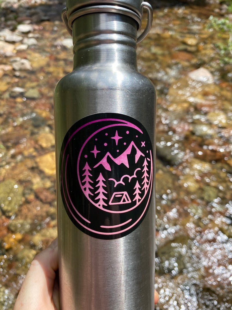floral camping sticker water bottle