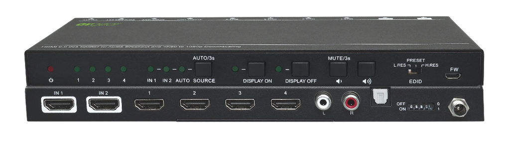 AV Gear UHS24 - HDMI2.0  2×4 Switcher  with Audio De-embedding