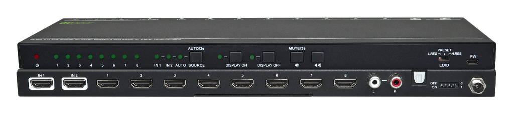 AV Gear UHS28 - HDMI2.0 2×8 Switcher with Audio De-embedding