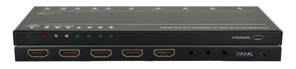 AV Gear UHS41 DA - Ultra 4K HDMI Switcher 4X1 with Audio De-embedder