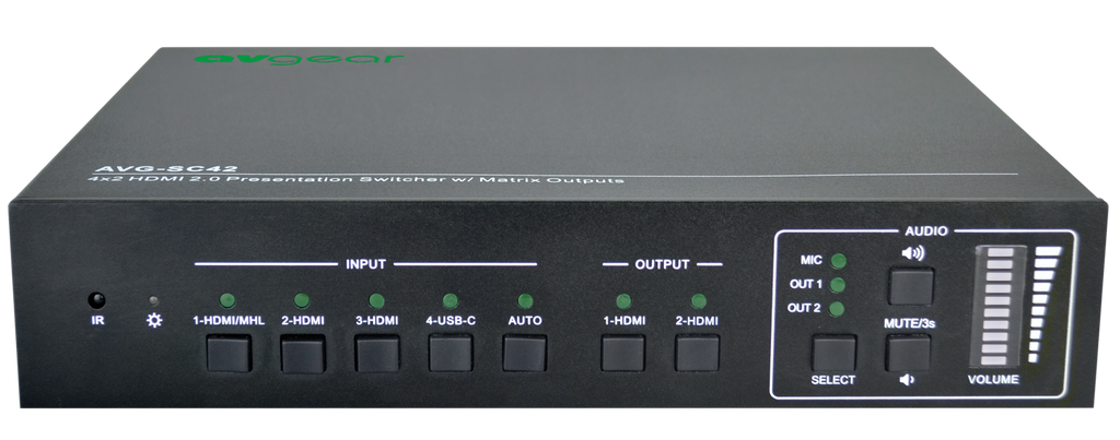 AV Gear SC42T - 4 in 2 out HDMI2.0 Seamless Scaler Matrix