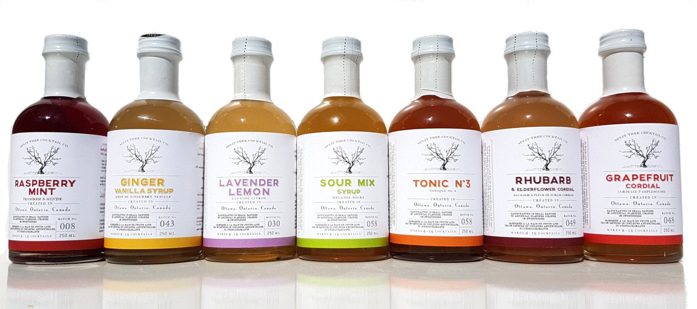 Split Tree Cocktail Co. as on CBC Dragons Den Canada, cordials, tonics, and other mixed drinks