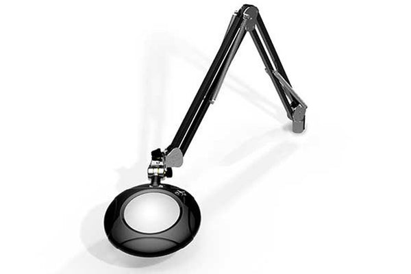 "MG800/2XBLK Round 2x Magnifier 5"" with 43"" reach, with table edge clamp, Black finish"