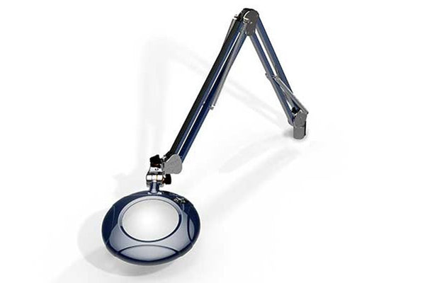 "MG800/2XBLU Round 2x Magnifier 5"" with 43"" reach, with table edge clamp, Blue finish"