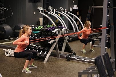 Row squats with power band