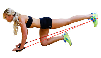 Glutes kickbacks with resistance bands