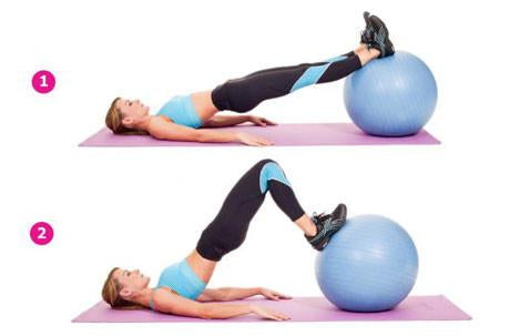 Lying hamstring curl on exercise ball