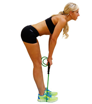 Bent over row using exercise bands