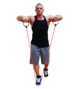 Standing front lateral raise with resistance bands