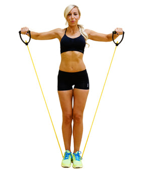 Side lateral raise with a resistance band