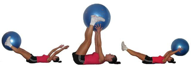 Stability ball V-pass core exercises