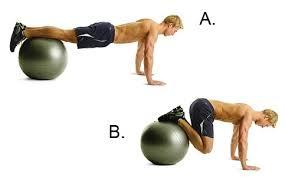 Stability ball knee tuck workout