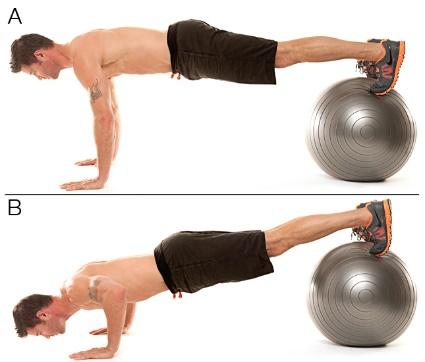 Stability ball pushups with feet on the ball and hands on the floor