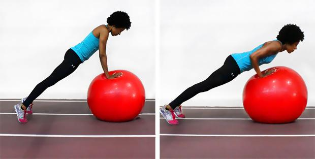 Stability ball pushups with hands on the ball and feet on the floor