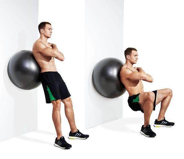 Exercise ball wall squats for legs
