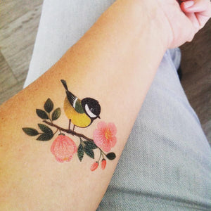 Great Tit Temporary Tattoo Set