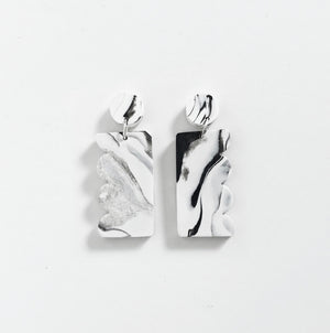 Scallop Drop Earrings - Marble