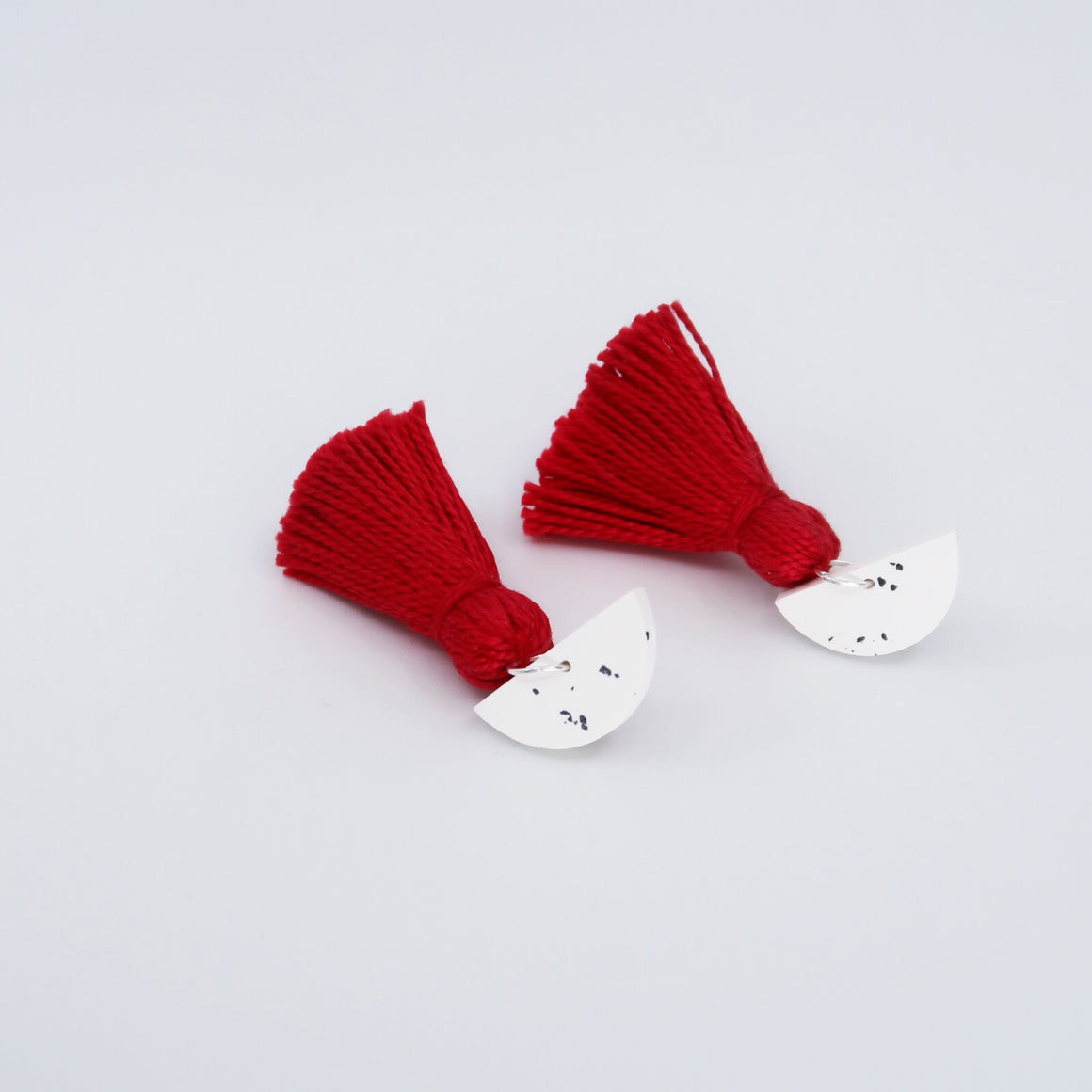 Speckle Tassel Earrings - Red