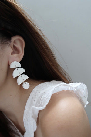 Half Moon Dangle Earrings - White