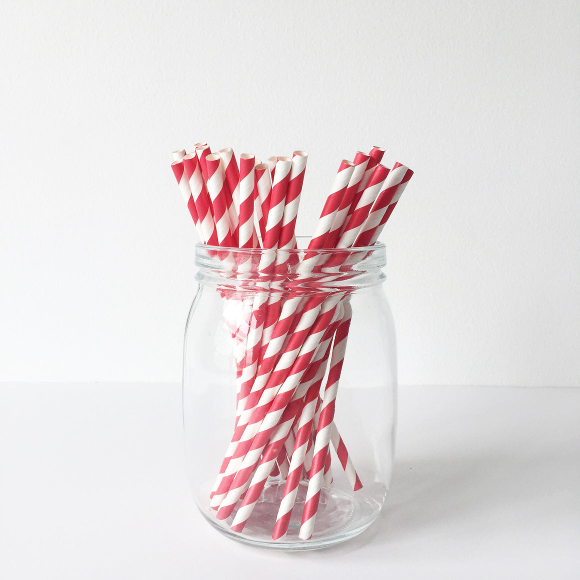 Paper Straws - Red Diagonal Stripes