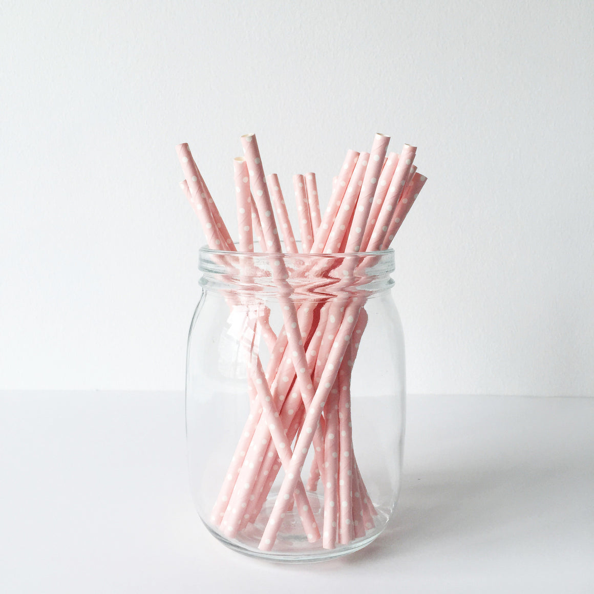 Paper Straws - White On Pink Dots