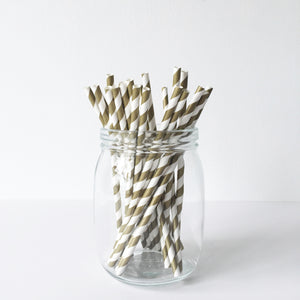 Paper Straws - Gold Diagonal Stripes