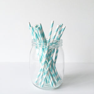 Paper Straws - Blue Diagonal Stripes