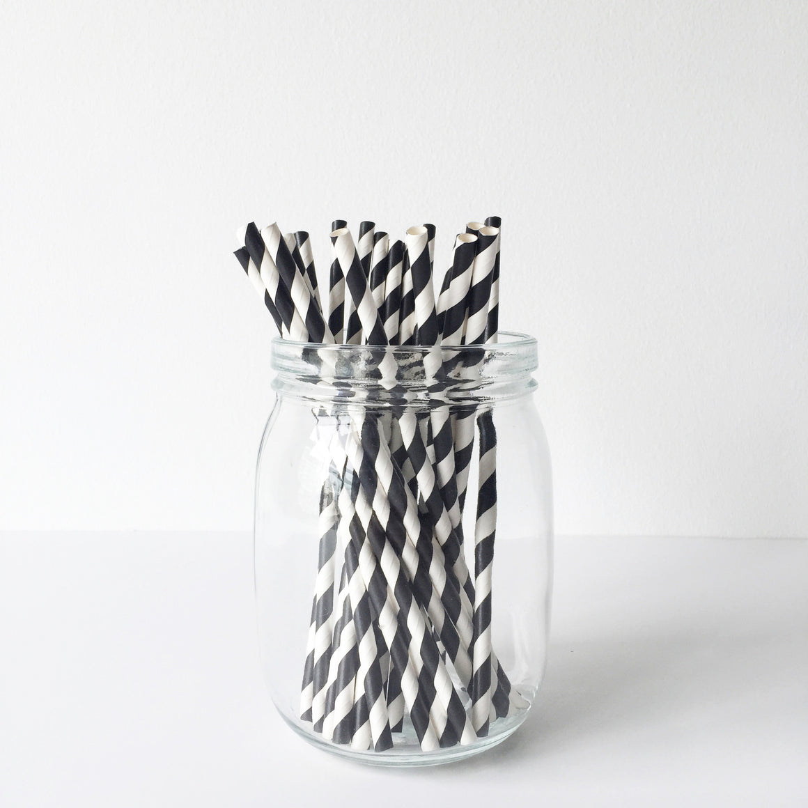 Paper Straws - Black Diagonal Stripes