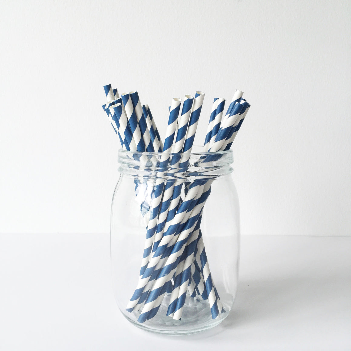 Paper Straws - Navy Diagonal Stripes