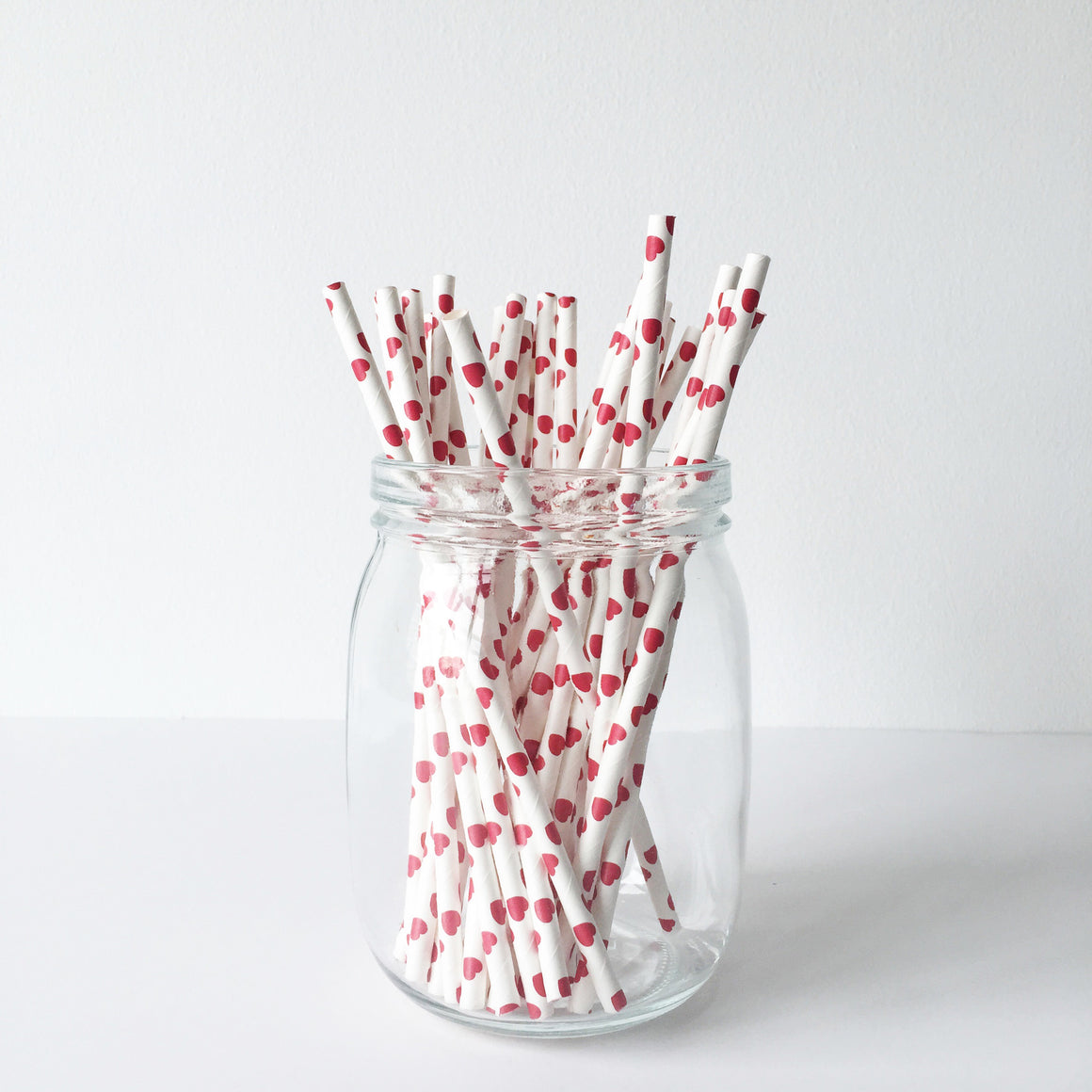 Paper Straws - Red Hearts