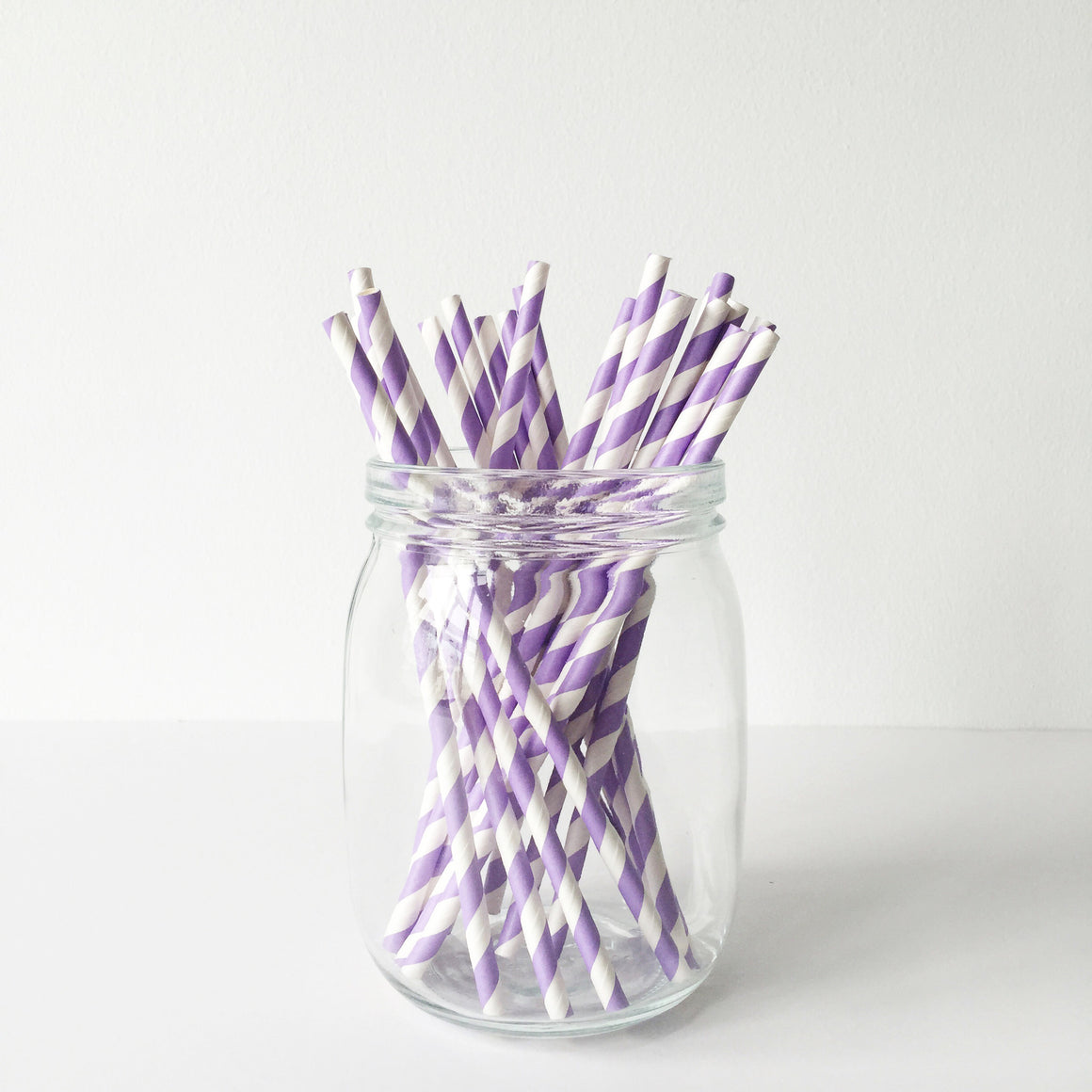 Paper Straws - Lilac Diagonal Stripes