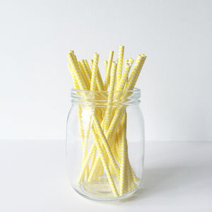 Paper Straws - Yellow Chevron