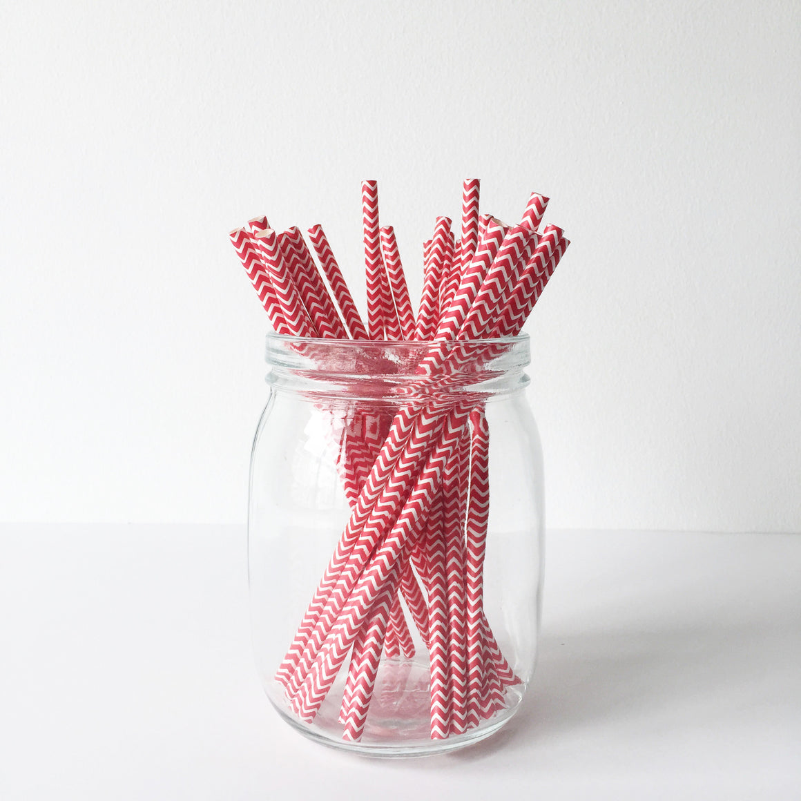 Paper Straws - Red Chevron