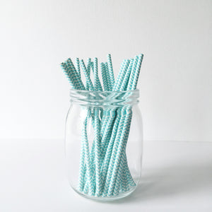 Paper Straws - Blue Chevron