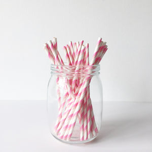 Paper Straws - Gradient Pink Diagonal Stripes