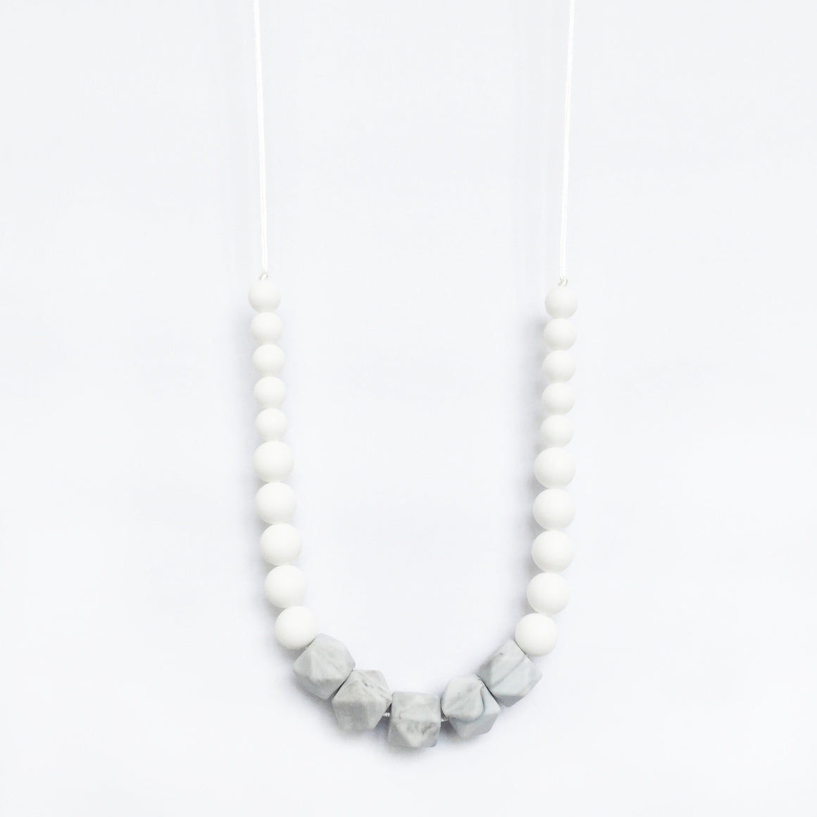 Marble Silicone Necklace - White