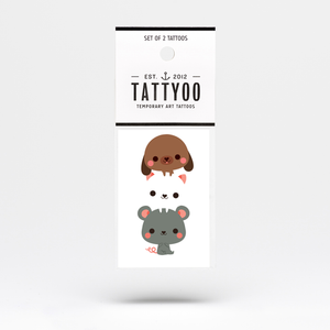 Woof, Miau, Squeak Temporary Tattoo Set