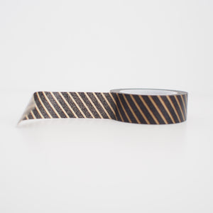 Washi Tape - Black Gold Diagonal Stripes