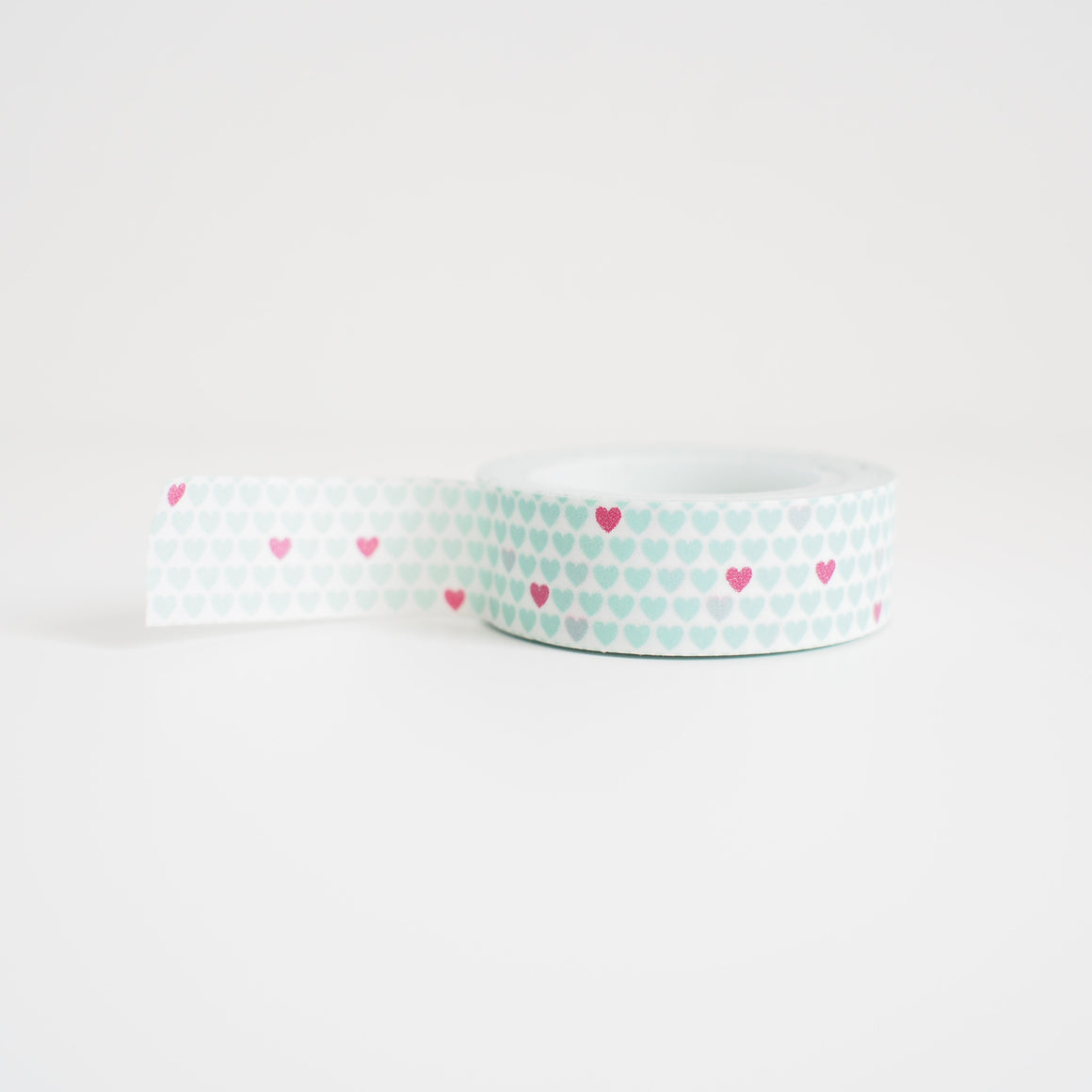 Washi Tape - Mint & Red Hearts