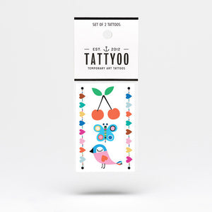 Cute Bird Temporary Tattoo Set